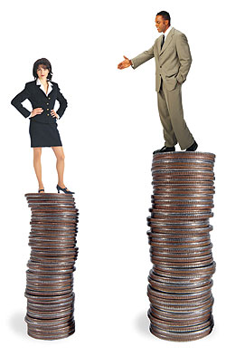 Women's salaries are still lower on average than men's